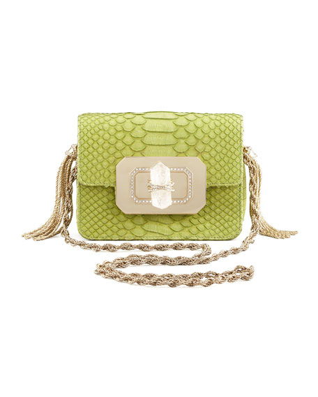 Phoebe Small Python Shoulder Bag, Chartreuse