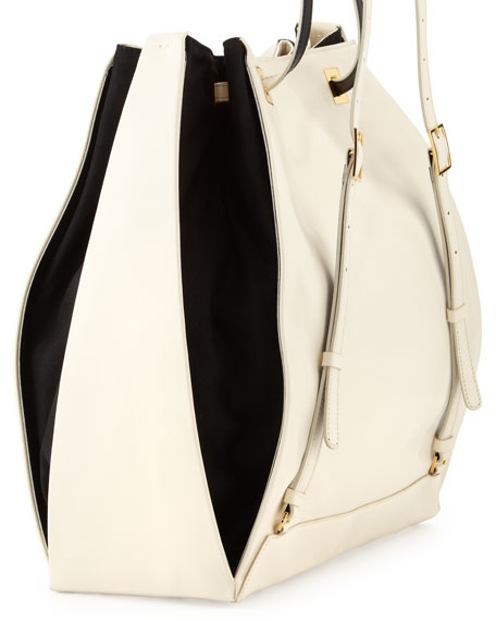 Bicolor Faux-Leather Rucksack, Black/White