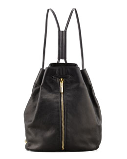 Elizabeth and James Leather Drawstring Backpack, Black