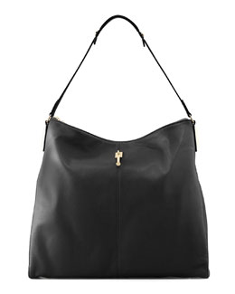 Elizabeth and James Lizard-Embossed Leather Hobo Bag