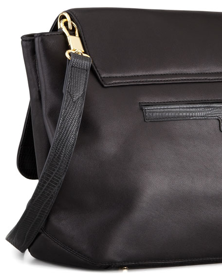 Lizard-Embossed Leather Messenger Bag, Black