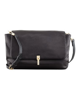 Elizabeth and James Lizard-Embossed Leather Messenger Bag, Black