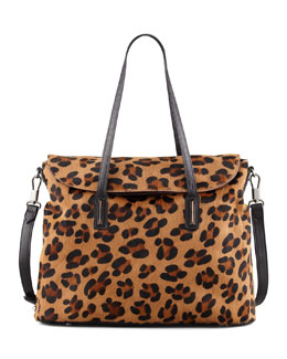Elizabeth and James Leopard-Print Calf Hair Satchel Bag
