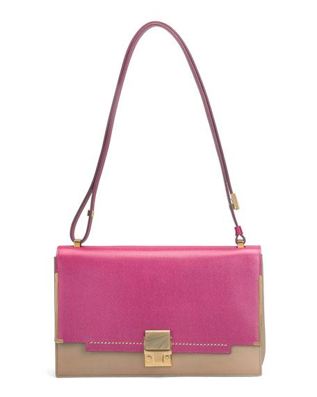 New Partition Shoulder Bag, Pink/Brown