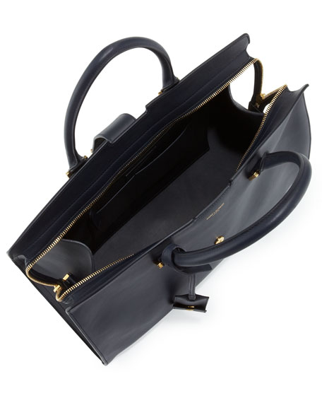Classic Cabas Y-Ligne Medium Leather Carryall Bag, Navy