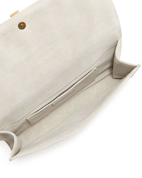 Y Ligne Clutch Bag, Dark Ivory or Cream