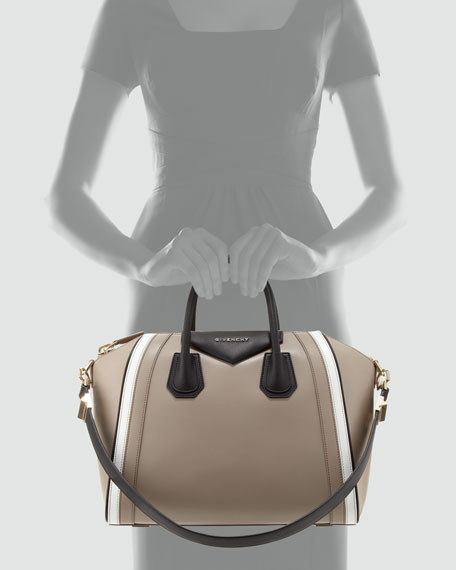 Antigona Small Leather Satchel Bag, Beige
