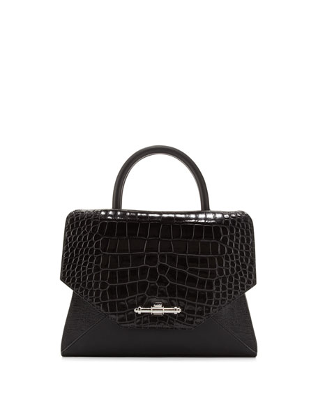 d7d31c7beb Givenchy Obsedia Top-Handle Small Stamped Crocodile Satchel Bag