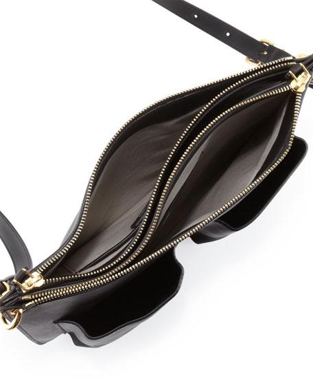 Calfskin Double-Pocket Shoulder Bag, Black