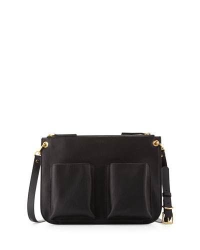 Calfskin Double-Pocket Shoulder Bag, Black