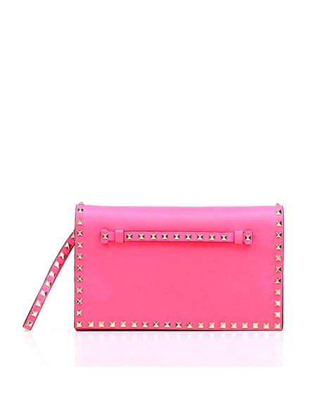 Rockstud Flap Clutch, Pink