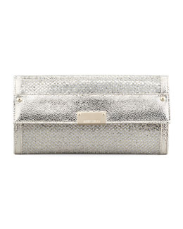 Jimmy Choo Reese Glitter Wallet Clutch Bag, Champagne
