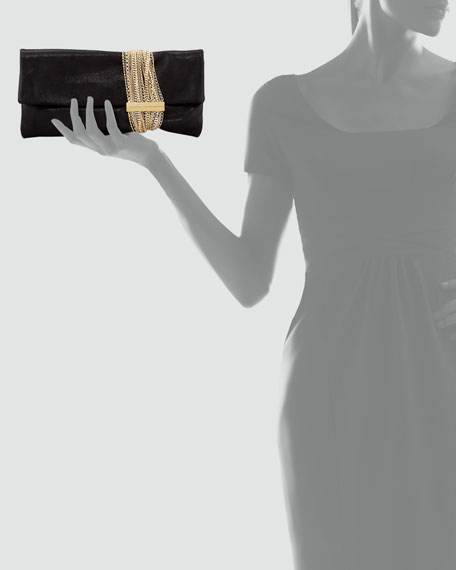Chandra Shimmery Chain Clutch Bag, Black