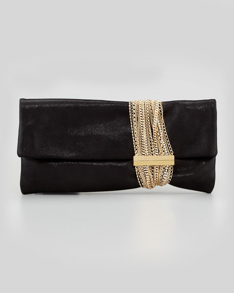 Chandra Shimmery Chain Clutch Bag, Black