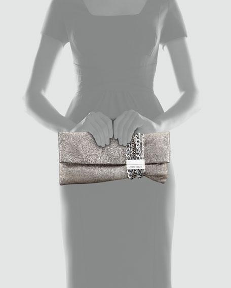 Chandra Metallic Chain Clutch Bag, Platinum