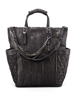 Jimmy Choo Blare Snakeskin Tote Bag, Black