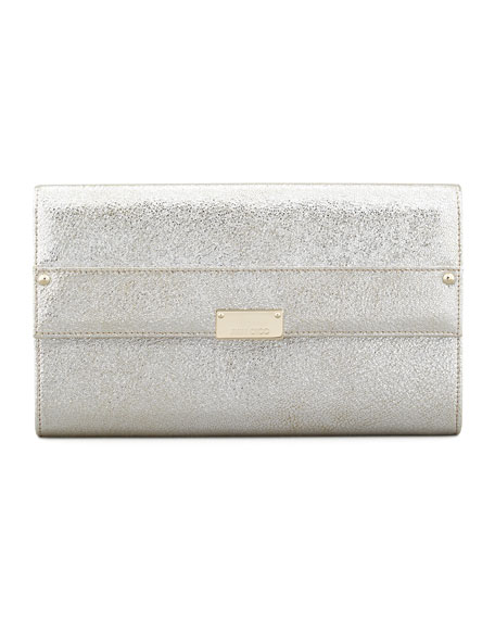 Reese Large Glitter Clutch, Silver