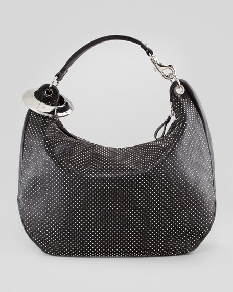 Solar Large Studded Hobo Bag, Black