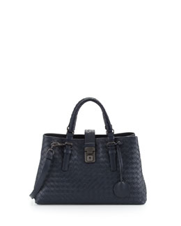 Bottega Veneta Roma Leggero Small Satchel Bag, Navy