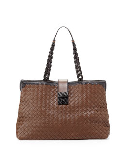 Bottega Veneta Glass Chain Handle Tote, Brown/Black