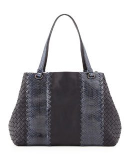 Snake & Napa Leather Tote Bag, Navy