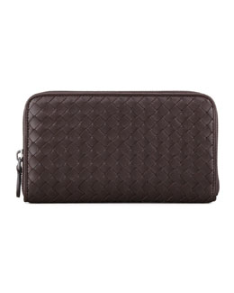 Bottega Veneta Continental Zip-Around Wallet, Dark Brown