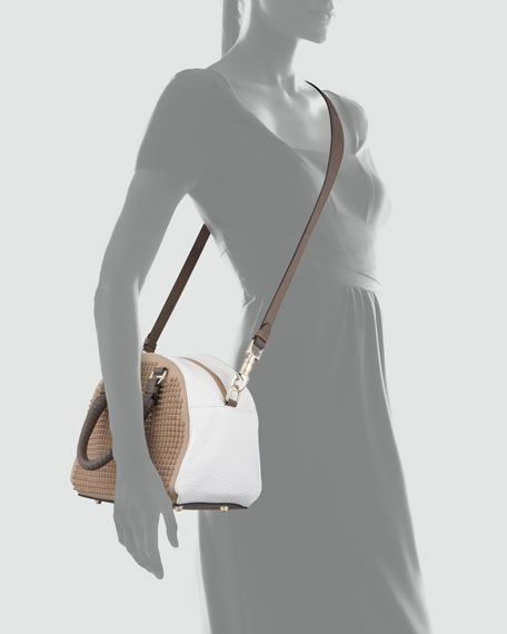 Panettone Studded Satchel Bag, Brown/White