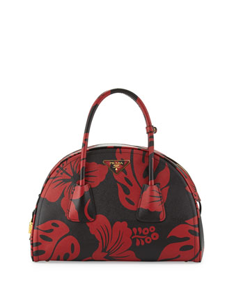 Saffiano Hibiscus-Print Bowler Bag, Red/Black
