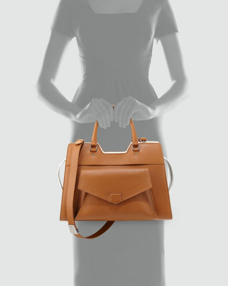 PS13 Bicolor Satchel Bag, Tan/White