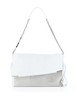 Jimmy Choo Ally Studded Handcuff-Strap Shoulder Bag, White