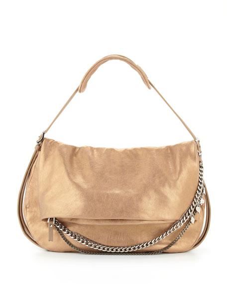 Biker Metallic Leather Shoulder Bag, Gold