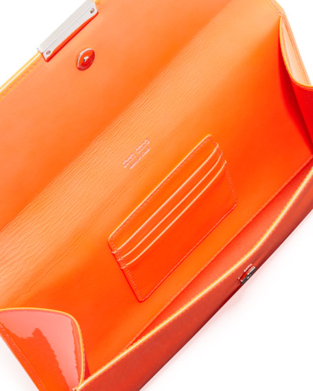 Reese Large Flap Clutch Bag, Orange
