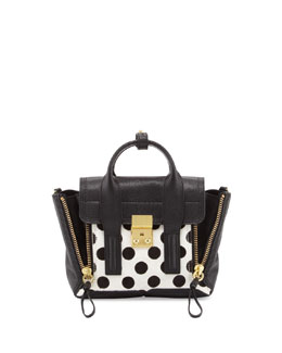 3.1 Phillip Lim Pashli Mini Spotted Calf Hair Satchel Bag, Black/White