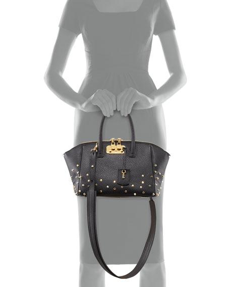 Brera Studded Leather Satchel Bag, Black
