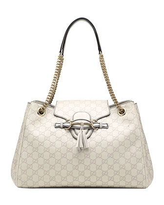 Emily Guccissima Leather Shoulder Bag, White