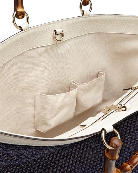 08f3158be654 Gucci Bamboo Shopper Straw Tote Bag, Blue/White