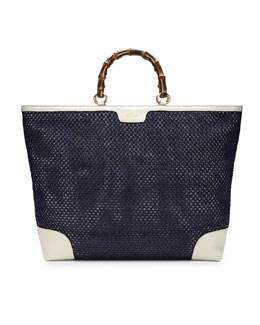 Gucci Bamboo Shopper Straw Tote Bag, Blue/White