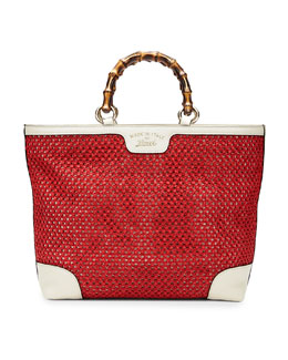 Gucci Bamboo Shopper Straw Tote Bag, Red/White