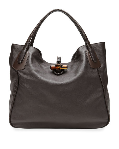 Hip Bamboo Leather Tote Bag, Dark Brown