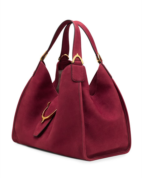Soft Stirrup Suede Shoulder Bag Dark Red