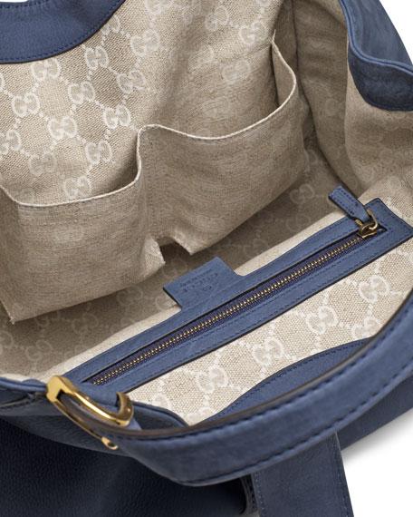 Soft Stirrup Suede Shoulder Bag, Blue