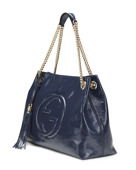 Soho Patent Leather Tote Bag, Blue