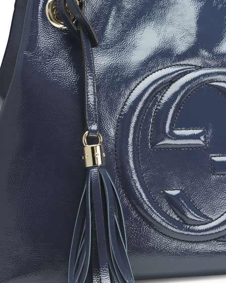 Soho Patent Leather Tote Bag, Blue