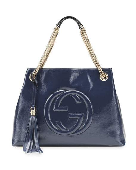 Gucci Soho Patent Leather Tote Bag, Blue