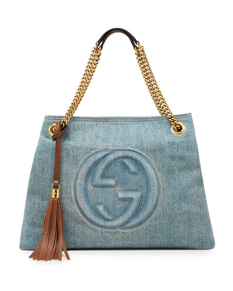 Soho Medium Blue Denim Tote