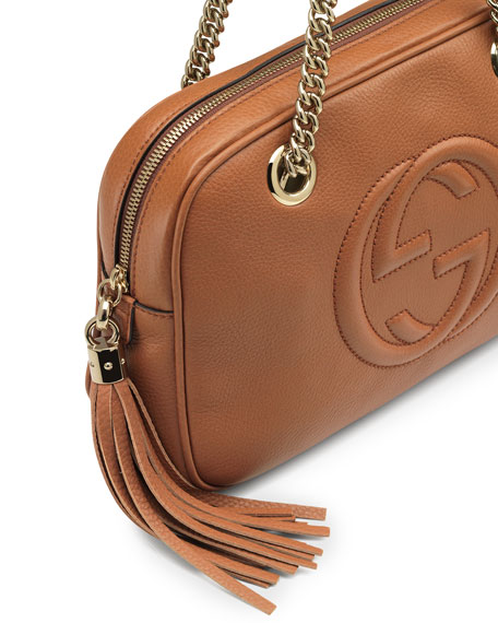 ea4dd005547 Gucci Soho Leather Double-Chain-Strap Shoulder Bag