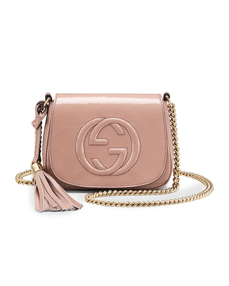 459037137cf6 Gucci Soho Small Patent Leather Chain Shoulder Bag, Nude