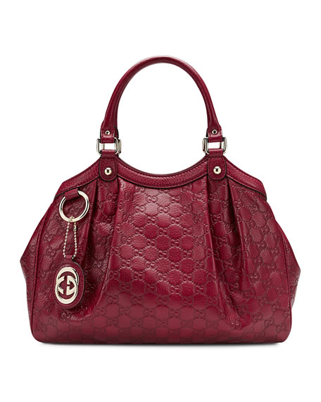 Sukey Medium Guccissima Leather Tote, Dark Red