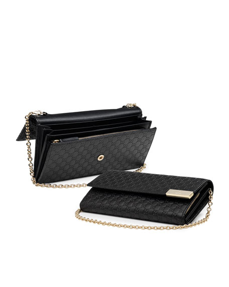 779de20299aa Gucci Dice Microguccissima Leather Chain Wallet, Black