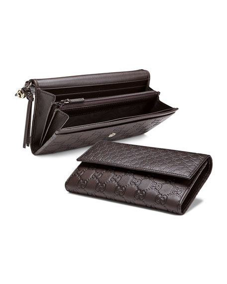 57ca046d9bb9 Gucci Bree Guccissima Leather Continental Wallet, Dark Brown